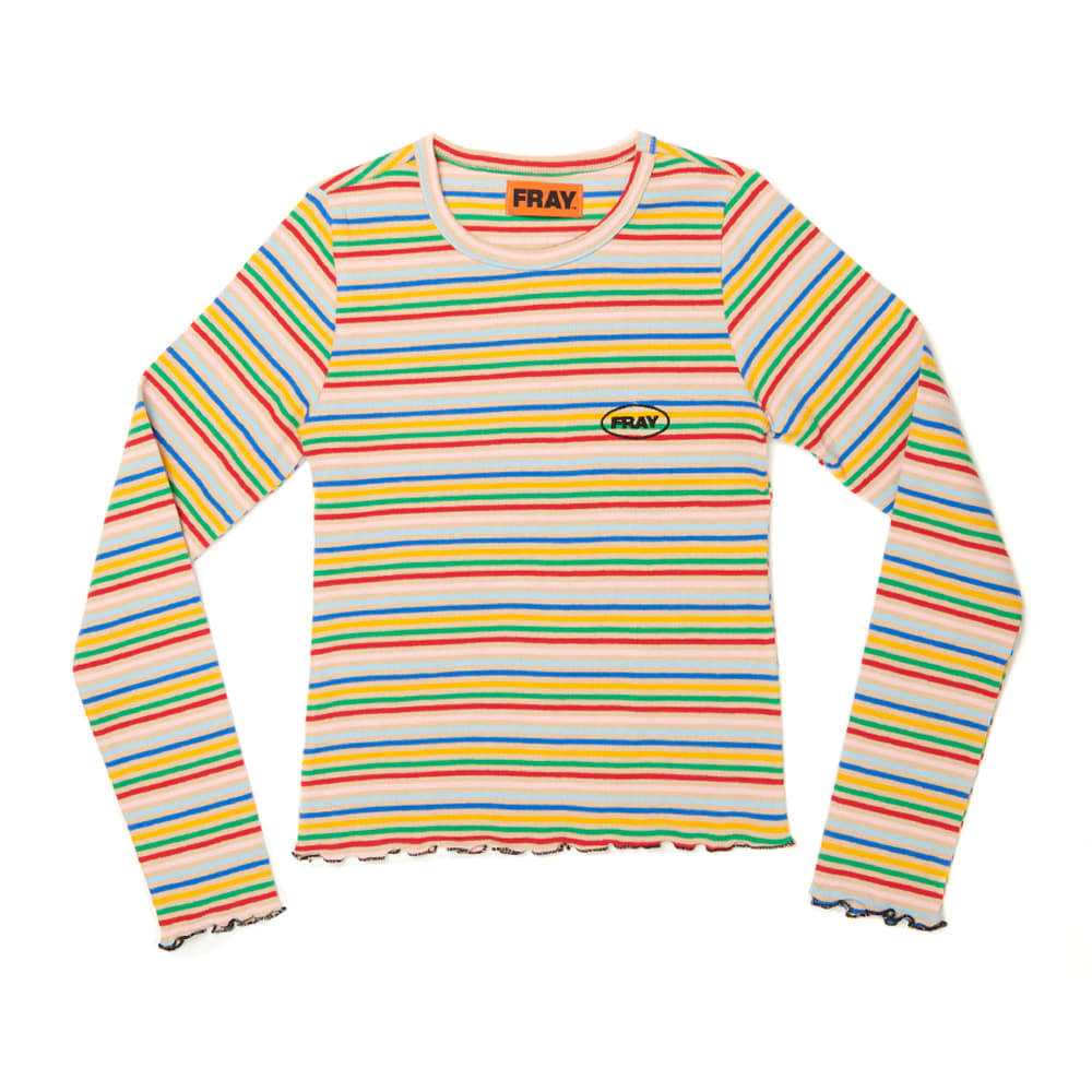 STRIPE SLIM T-SHIRTS - BEIGE STRIPE