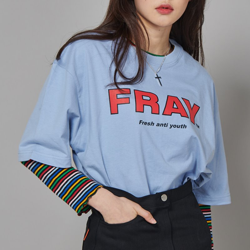 FRAY BIG LOGO T-SHIRTS - DUST BLUE