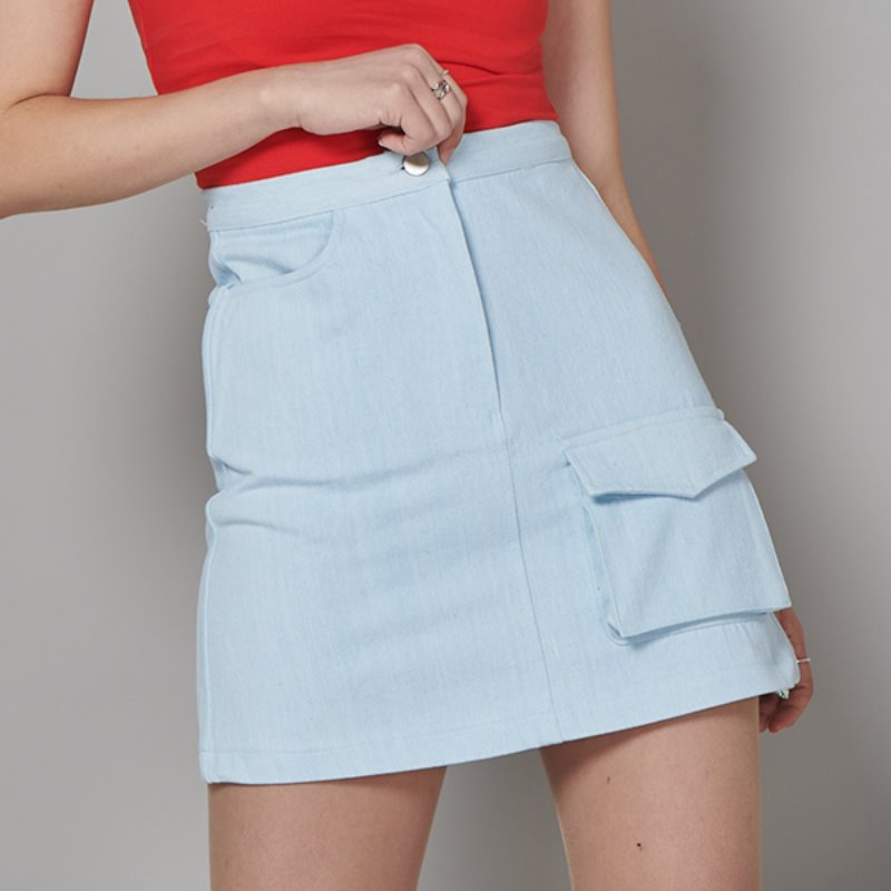FR FLAP POCKET A-LINE SKIRT - ICE