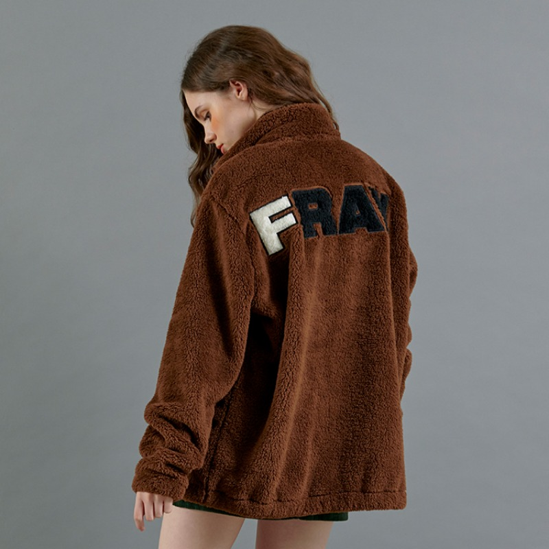 BASIC LOGO FLEECE JACKET - BROWN