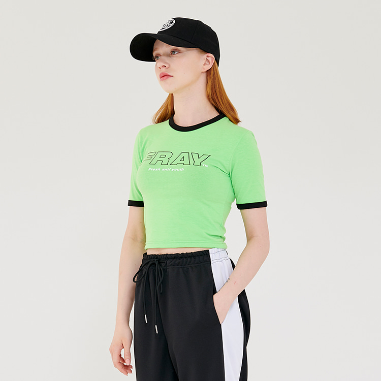 FRAY BIG LOGO CROP T-SHIRTS - MELON