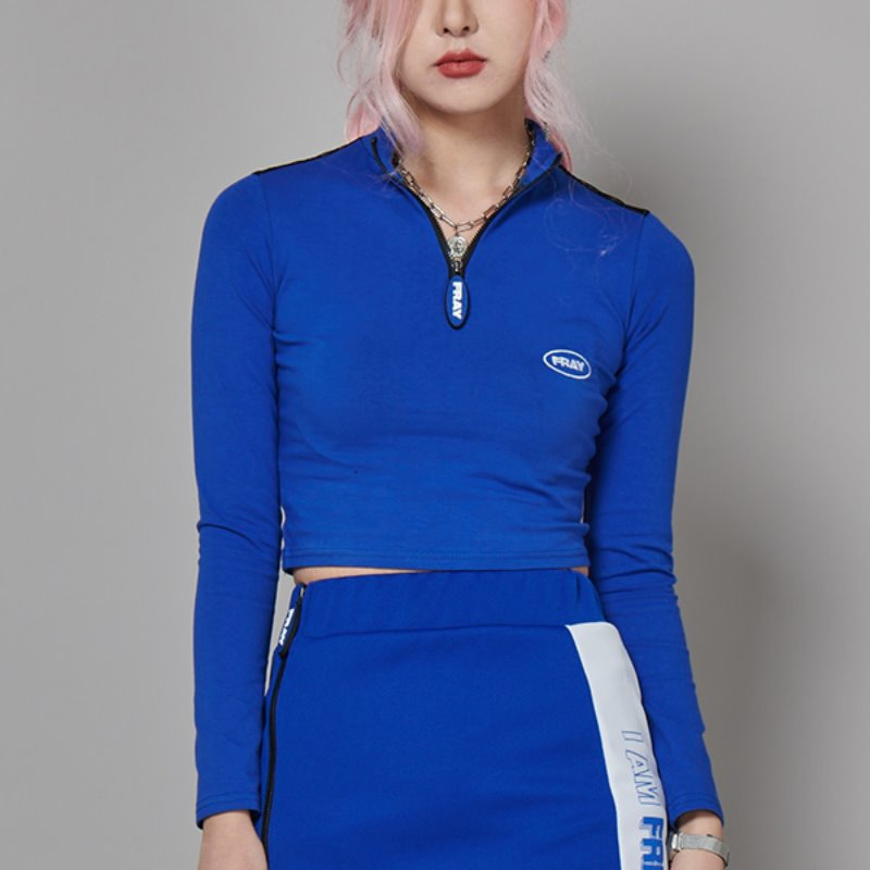 FRAY LONG SLEEVE TOP - COBALT BLUE