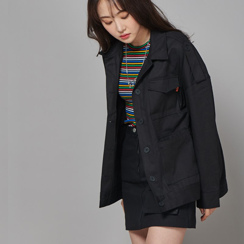 FR FLAP POCKET JACKET - BLACK