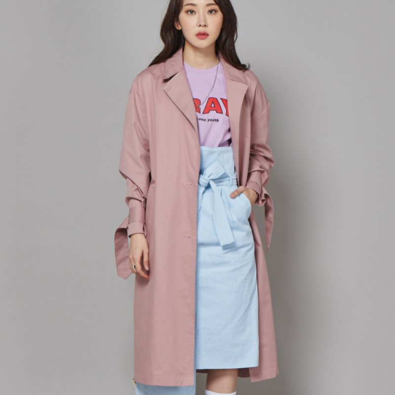 FR TRENCH COAT - DUST PINK