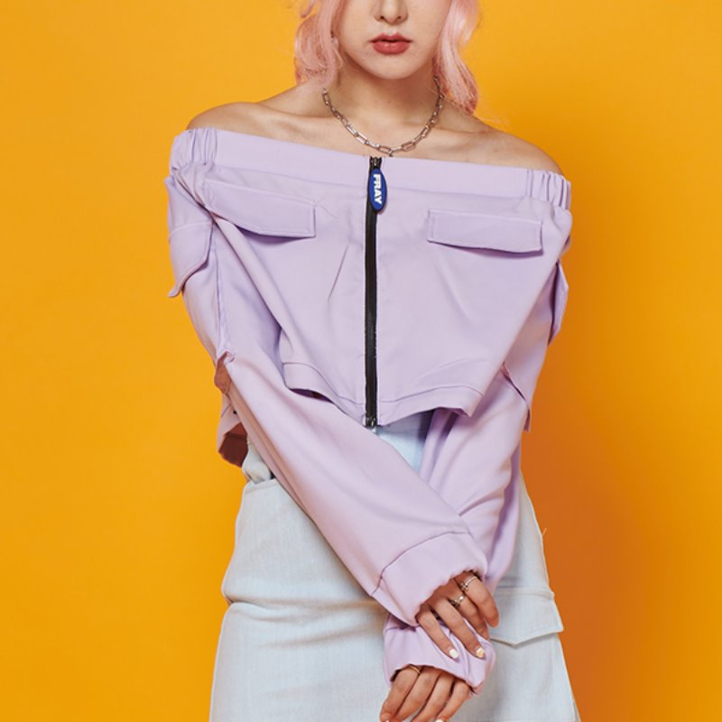 FR POCKET OFF SHOULDER TOP - LIGHT PURPLE