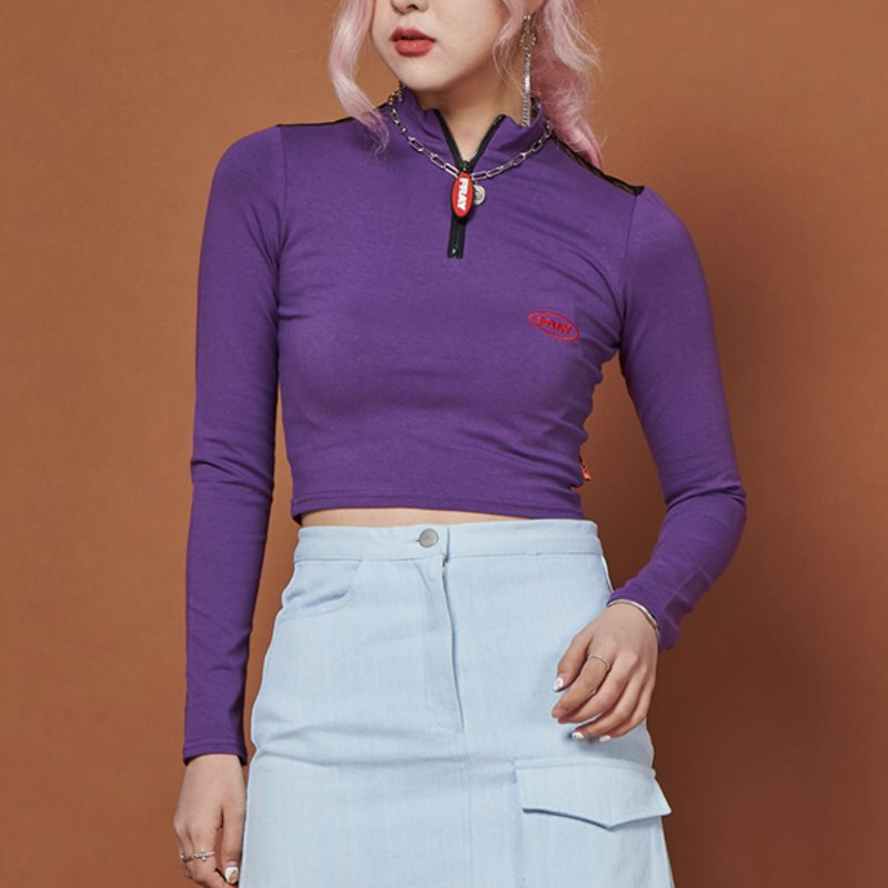 FRAY LONG SLEEVE TOP - PURPLE