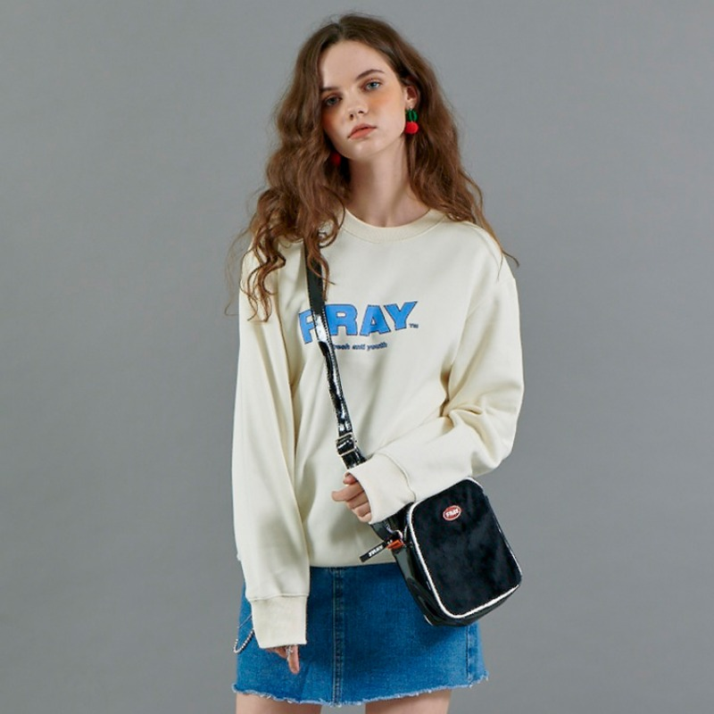 FRAY DIAGONAL LOGO CREWNECK - CREAM