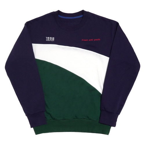 Wave-Crewneck Sweater - Navy