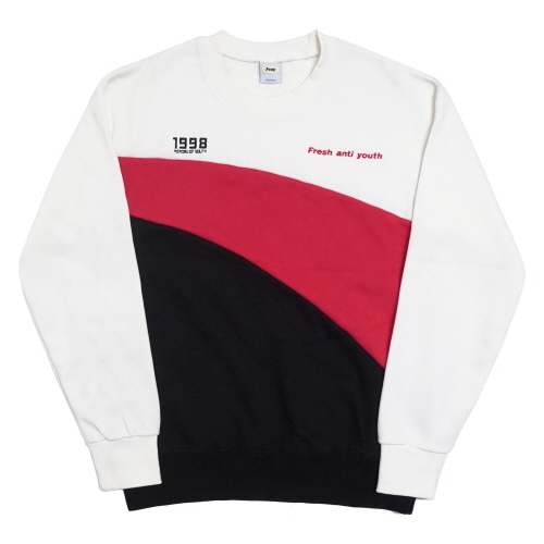 Wave-Crewneck Sweater - White