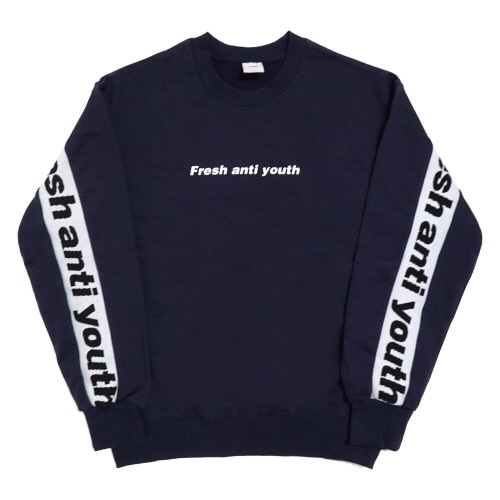 Band-Crewneck Sweater - Navy