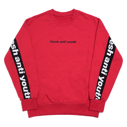 Band-Crewneck Sweater - Red