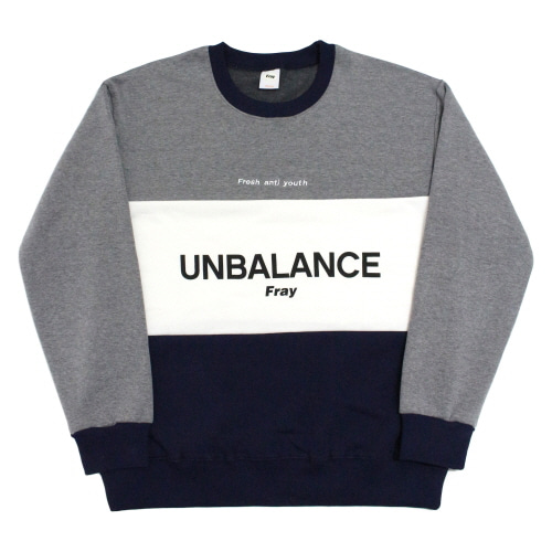 Unbalance-Crewneck Sweater - Navy