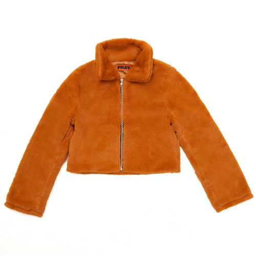 [FRAY] FLEECE FUR JACKET - CAMEL