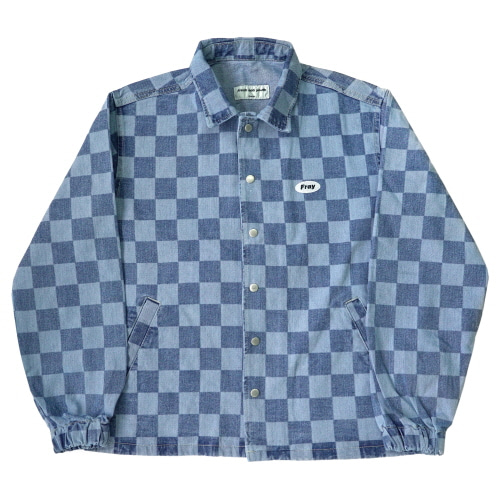 Checker Denim Jacket - Indigo Blue
