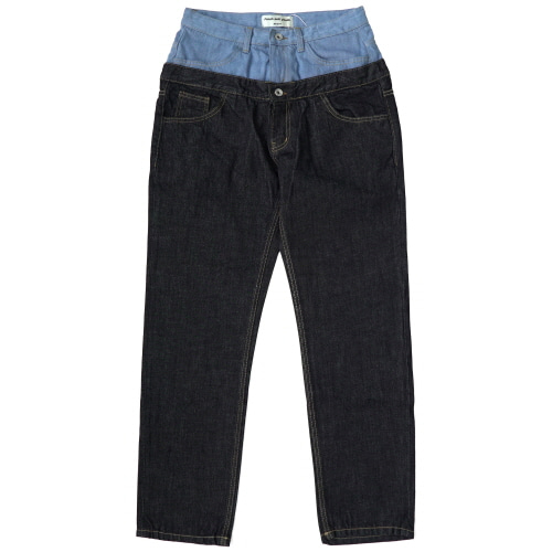 Double Roll Up Denim Pants - Indigo Blue