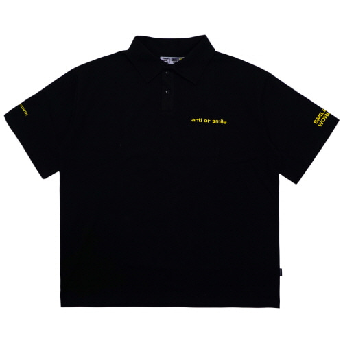 [FRAY x SMILEY] SMILEY WORLD OVERSIZED POLO SHIRTS - BLACK