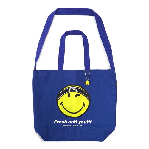 [FRAY x SMILEY] FRAY LOGO SMILE SHOLDER BAG - BLUE