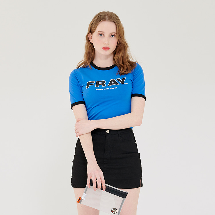 FRAY BIG LOGO CROP T-SHIRTS - BLUE