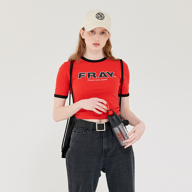 FRAY BIG LOGO CROP T-SHIRTS - RED