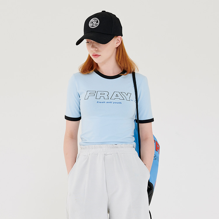FRAY BIG LOGO CROP T-SHIRTS - SKY
