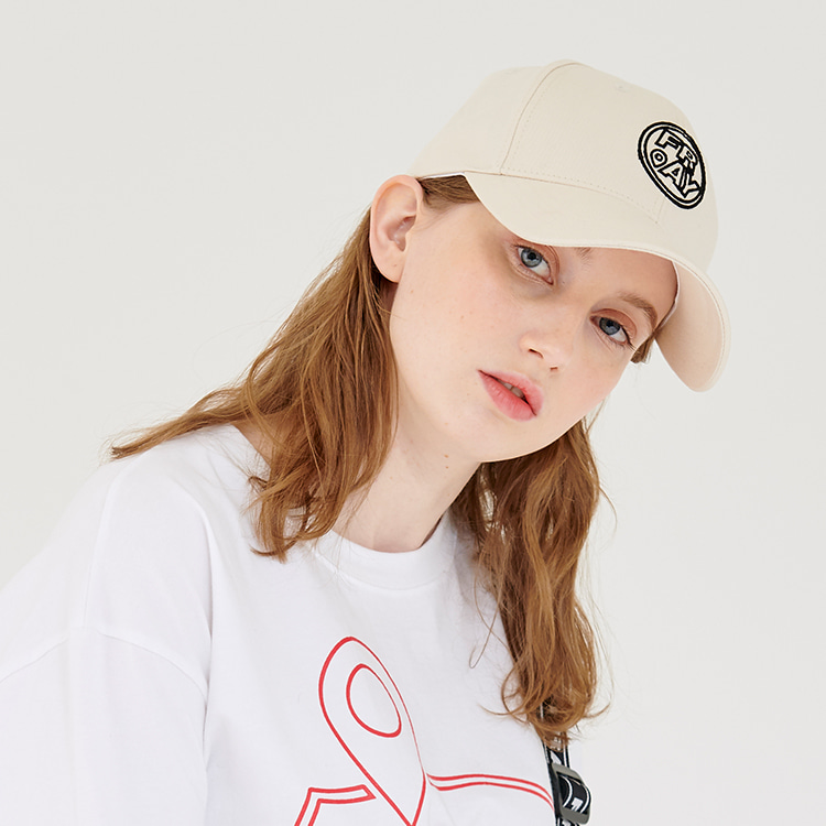 CIRCLE LOGO BALL CAP - BEIGE