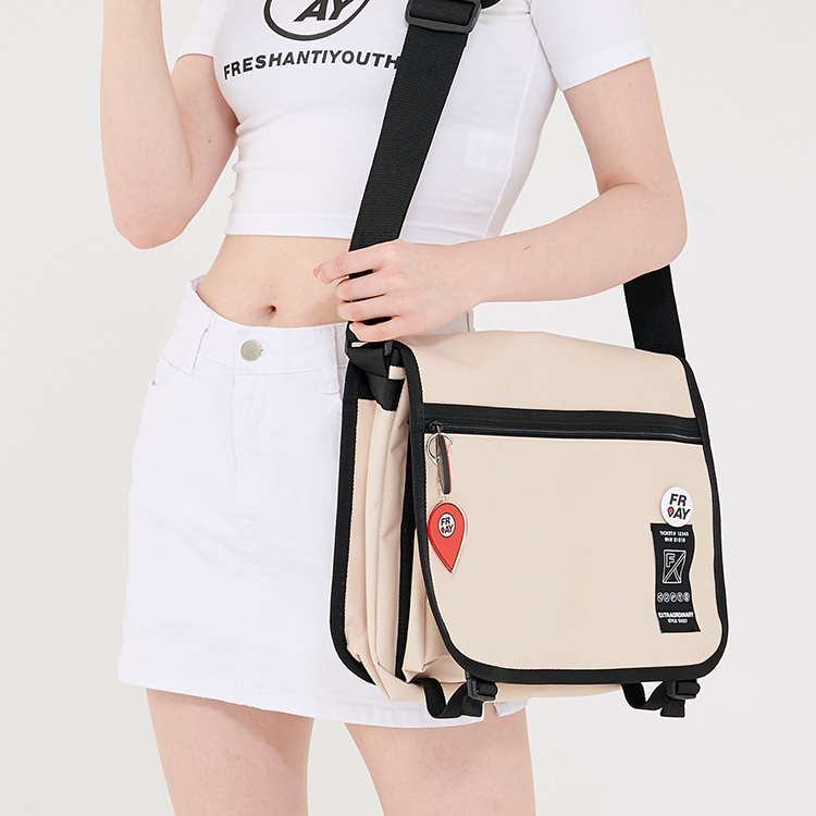 TAPE MESSENGER BAG - BEIGE