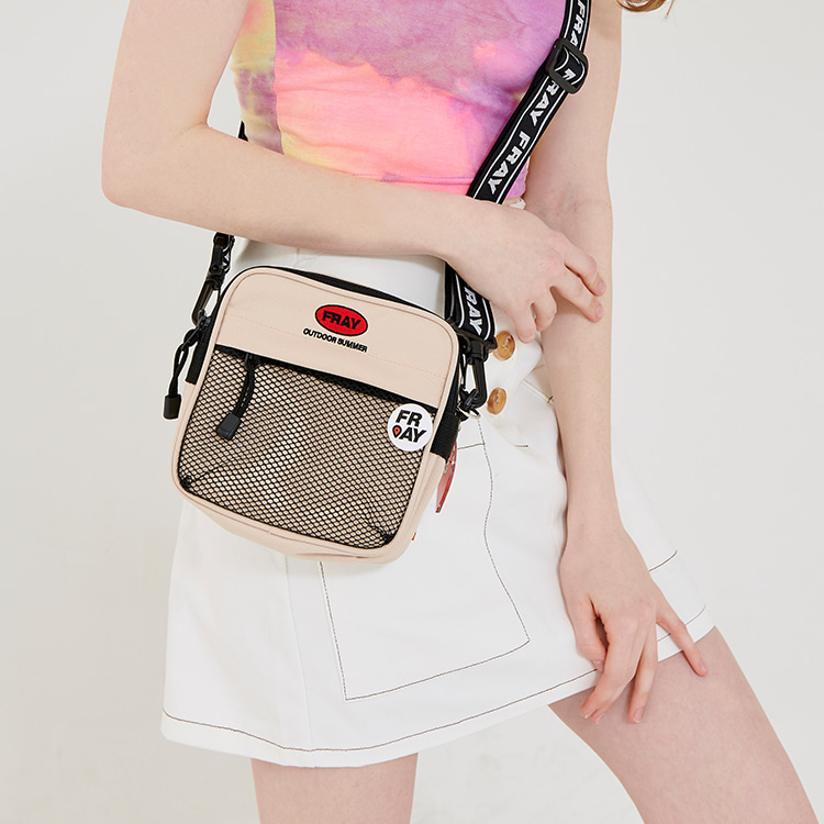 TAPE MINI CROSS BAG - BEIGE